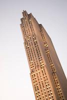 Defocused Upward View of 30 Rockefeller Plaza at Dusk, Rockefeller Center, Midtown Manhattan, New York City, New York State, USA