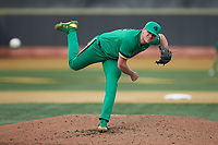 Notre Dame Fighting Irish starting pitcher Cameron Junker (32) delivers a pitch to the plate against the Wake Forest Demon Deacons at David F. Couch Ballpark on March 10, 2019 in  Winston-Salem, North Carolina. The Fighting Irish defeated the Demon Deacons 8-7 in 10 innings in game two of a double-header. (Brian Westerholt/Four Seam Images)