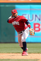 Lehigh Valley IronPigs shortstop Andres Blanco #5 during a game against the Buffalo Bisons at Coca-Cola Field on April 19, 2012 in Buffalo, New York.  Lehigh Valley defeated Buffalo 8-4.  (Mike Janes/Four Seam Images)