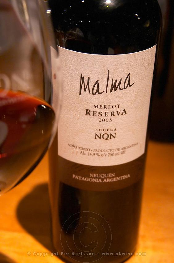 Bottle of Malma Reserva Merlot NQN Bodega NQN Winery, Vinedos de la Patagonia, Neuquen, Patagonia, Argentina, South America