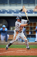 Lakeland Flying Tigers second baseman Will Maddox (3) at bat during a game against the Charlotte Stone Crabs on April 16, 2017 at Charlotte Sports Park in Port Charlotte, Florida.  Lakeland defeated Charlotte 4-2.  (Mike Janes/Four Seam Images)