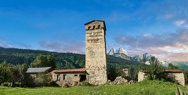 Stone medieval Svaneti tower houses of Lashtkhveri village in the Caucasus mountains, Upper Svaneti, Samegrelo-Zemo Svaneti, Mestia, Georgia.  A UNESCO World Heritage Site.