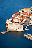Stock photos of Arial view of Dubrovnik old town port - Croatia