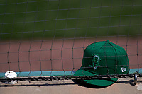 Boston Red Sox St. Patricks Day hat during a Major League Spring Training game against the Minnesota Twins on March 17, 2021 at JetBlue Park in Fort Myers, Florida.  (Mike Janes/Four Seam Images)