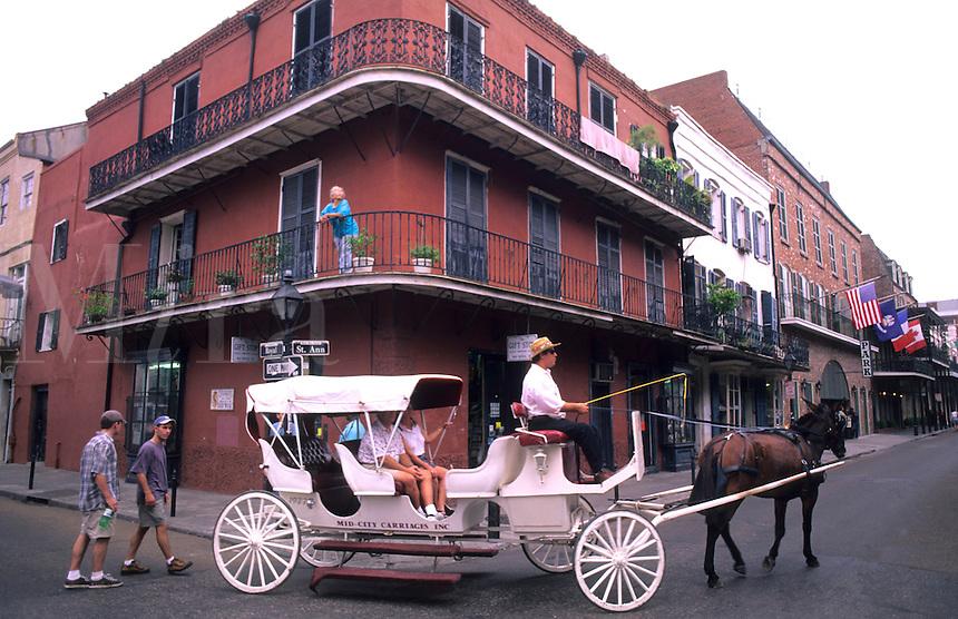 Horse carriage ride thru the French Quarter, city of New Orleans, Louisiana, NOLA, USA