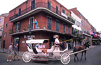 Horse carriage ride thru the French Quarter, city of New Orleans, Louisiana, NOLA, USA