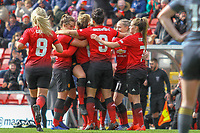 Lauren James (Manchester United Women) celebrates after scoring during the English Womens Championship match between Manchester United Women and Leicester City Women at Leigh Sports Village, Leigh, England on 10 March 2019. Photo by James Gill / PRiME Media Images.