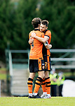 St Johnstone v Dundee United…22.08.21  McDiarmid Park    SPFL<br />Ryan Edwards and Charlie Mulgrew celebrate at full time<br />Picture by Graeme Hart.<br />Copyright Perthshire Picture Agency<br />Tel: 01738 623350  Mobile: 07990 594431