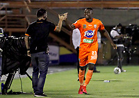 ENVIGADO - COLOMBIA, 13–02-2021: Andres Cordoba de Envigado F. C., celebra el gol anotado a Atletico Junior durante partido entre Envigado F. C. y Atletico Junior de la fecha 6 por la Liga BetPlay DIMAYOR I 2021, en el estadio Polideportivo Sur de la ciudad de Envigado. / Andres Cordoba of Envigado F. C., celebrates a scored goal to Atletico Junior, during a match between Envigado F. C., and Atletico Junior of the 6th date for the BetPlay DIMAYOR I 2021 League at the Polideportivo Sur stadium in Envigado city. Photo: VizzorImage / Juan A Cardona/ Cont.