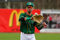 Beloit Snappers outfielder Luis Barrera (16) warms up prior to a Midwest League game against the Peoria Chiefs on April 15, 2017 at Pohlman Field in Beloit, Wisconsin.  Beloit defeated Peoria 12-0. (Brad Krause/Four Seam Images)