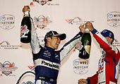 Takuma Sato, Rahal Letterman Lanigan Racing Honda, Tony Kanaan, A.J. Foyt Enterprises Chevrolet celebrate on the podium