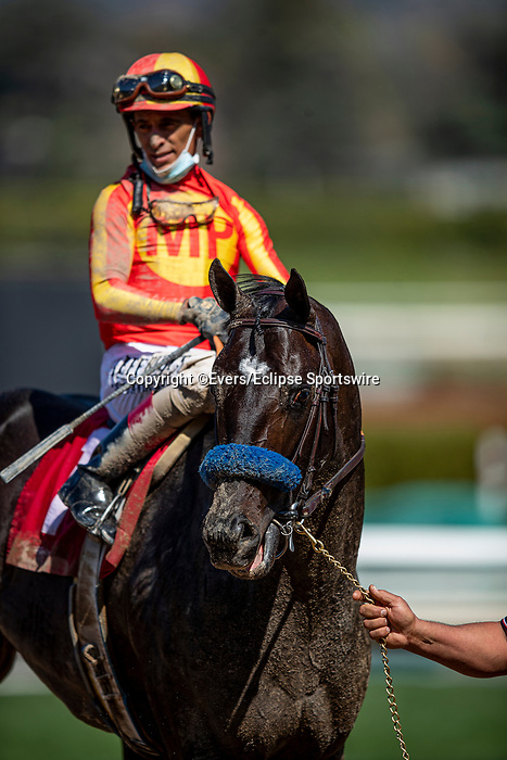 March 06, 2021: Mastering with John Velazquez at Santa Anita Park in Arcadia, California on March 06, 2021. Evers/Eclipse Sportswire/CSM