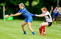 24 August 2019;  Anna Doyle is tackled by Ella Durkan  during the Women's Interprovincial Championship match between Ulster and Leinster at Armagh RFC in Armagh. Photo by John Dickson / DICKSONDIGITAL