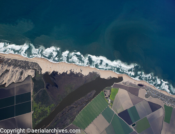 aerial photo map of the Salinas River National Wildlife Refuge, Monterey County, California located left of the mouth of the Salinas River shown here at low tide