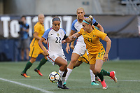 Seattle, WA - Thursday July 27, 2017: Mallory Pugh and Ellie Carpenter during a 2017 Tournament of Nations match between the women's national teams of the United States (USA) and Australia (AUS) at CenturyLink Field.