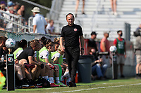 CARY, NC - SEPTEMBER 12: Head coach Mark Parsons of the Portland Thorns FC paces the sideline during a game between Portland Thorns FC and North Carolina Courage at Sahlen's Stadium at WakeMed Soccer Park on September 12, 2021 in Cary, North Carolina.