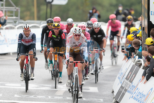The main bunch crosses the finish line at the end of Stage 16 of the 2021 Tour de France, running 169km from Pas de la Case to Saint-Gaudens, Andorra. 13th July 2021.  <br /> Picture: Colin Flockton   Cyclefile<br /> <br /> All photos usage must carry mandatory copyright credit (© Cyclefile   Colin Flockton)