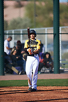 Isaiah Aguilar (2) of Alice High School in Alice, Texas during the Baseball Factory All-America Pre-Season Tournament, powered by Under Armour, on January 13, 2018 at Sloan Park Complex in Mesa, Arizona.  (Zachary Lucy/Four Seam Images)