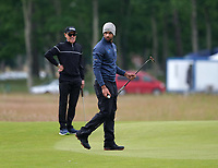 6th July 2021; North Berwick, East Lothian, Scotland;  Aaron Rai England on the 1st green during the Celebrity Pro-Am at the abrdn Scottish Open at The Renaissance Club, North Berwick, Scotland.
