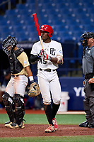 Elijah Green (35) during the Perfect Game National Showcase on July 17, 2021 at Tropicana Field in St. Petersburg, Florida.  Elijah Green, of Windermere, FL, attends IMG Academy and is committed to Miami.  (Mike Janes/Four Seam Images)