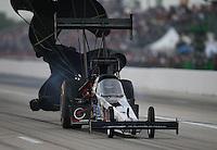 Apr. 26, 2013; Baytown, TX, USA: NHRA top fuel dragster driver Larry Dixon during qualifying for the Spring Nationals at Royal Purple Raceway. Mandatory Credit: Mark J. Rebilas-