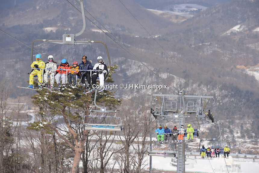 Skiers and snow boarders at the Alpensia Resort. It is located on the territory of the township of Daegwallyeong-myeon, in the county of Pyeongchang.  Alpensia Resort will host some events  for the 2018 Winter Olympics and 2018 Winter Paralympics in Pyeongchang.
