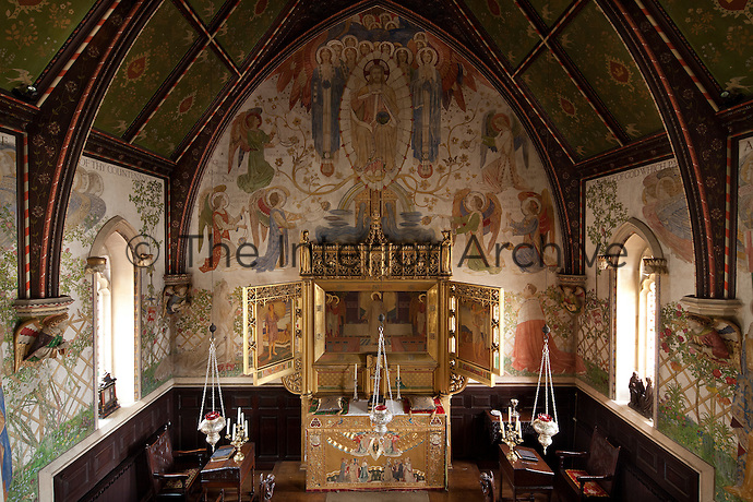 The Arts and Crafts chapel was designed by the architect Philip Charles Hardwick and decorated by the Birmingham Municipal School of Arts and Crafts. The triptych was designed by architect William Bidlake and painted by Charles Gere who also designed the embroidered alter frontal
