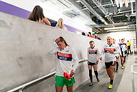 ORLANDO, FL - FEBRUARY 21: Alyssa Naeher #1 of the USWNT leaves the locker room before a game between Brazil and USWNT at Exploria Stadium on February 21, 2021 in Orlando, Florida.