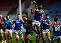 13th February 2021; Twickenham Stoop, London, England; English Premiership Rugby, Harlequins versus Leicester Tigers; Kini Murimurivalu of Leicester Tigers jumping high to receive ball
