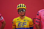 Colombian Champion Sergio Andres Higuita Garcia (COL) EF Education-Nippo at sign on before the start of Stage 5 of the 2021 UAE Tour running 170km from Fujairah to Jebel Jais, Fujairah, UAE. 25th February 2021.  <br /> Picture: Eoin Clarke   Cyclefile<br /> <br /> All photos usage must carry mandatory copyright credit (© Cyclefile   Eoin Clarke)