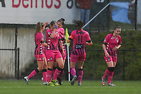 players of Charleroi  pictured celebrating their opening goal from Alysson Duterne (14) of Charleroi during a female soccer game between Sporting Charleroi and White Star Woluwe on the 7 th matchday in play off 2 of the 2020 - 2021 season of Belgian Scooore Womens Super League , friday 14 th of May 2021  in Marcinelle , Belgium . PHOTO SPORTPIX.BE | SPP | Sevil Oktem