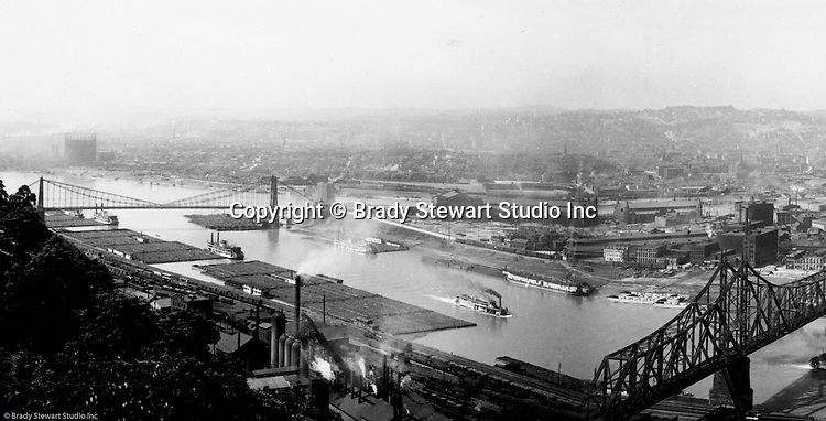 Pittsburgh PA - View of the Point, new Wabash Railroad Bridge, and South Side Coke Works from Mount Washington.