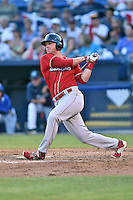 Lakewood BlueClaws first baseman Rhys Hoskins (12) swings at a pitch during the South Atlantic League All Star Game on June 23, 2015 in Asheville, North Carolina. The North Division defeated the South 7-5(Tony Farlow/Four Seam Images)