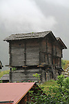Old village buildings near the town of Tasch, near Zermatt, Switzerland.