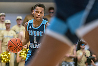 WASHINGTON, DC - FEBRUARY 8: Fatts Russell #1 of Rhode Island moves up court during a game between Rhode Island and George Washington at Charles E Smith Center on February 8, 2020 in Washington, DC.