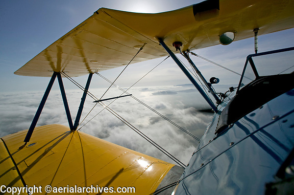 aerial photograph view of San Francisco Bay from Stearman biplane cockpit though flying wires