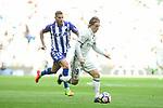 Real Madrid's Luka Modric and Deportivo Alaves's Theo Hernandez during La Liga match between Real Madrid and Deportivo Alaves at Stadium Santiago Bernabeu in Madrid, Spain. April 02, 2017. (ALTERPHOTOS/BorjaB.Hojas)