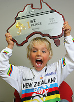 Six-year-old BMX age group olympic class world champ Rico Bearman. BikeNZ/SPARC World Champions media session at Sparc Headquarters, Wellington, New Zealand on Wednesday, 2 December 2009. Photo: Dave Lintott / lintottphoto.co.nz