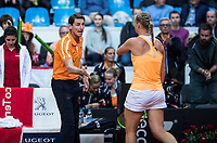 Bratislava, Slovenia, April 22, 2017,  FedCup: Slovakia-Netherlands, seccond rubber : Kiki Bertens (NED) is welkome by captain Paul Haarhuis after winning the first set<br /> Photo: Tennisimages/Henk Koster