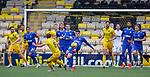 16.08.2020 Livingston v Rangers: Ianis Hagi hoofs the ball clear from Scott Pittman