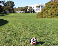 """D.C. United ball on the White House lawn during a  D.C United clinic in support of first lady Michelle Obama's """"Let's Move"""" initiative on the White House lawn, in Washington D.C. on October 7 2010."""