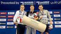 (L to R) KOSTIN Oleg RUS; GYURTA Daniel HUN; VAN Der BURGH Cameron RSA<br /> 200 Breaststroke men<br /> FINA Airweave Swimming World Cup 2015<br /> Doha, Qatar 2015  Nov.2 nd - 3 rd<br /> Day1 - Nov. 2 nd Finals<br /> Photo G. Scala/Deepbluemedia