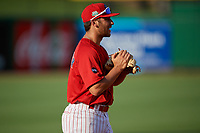 Clearwater Threshers third baseman Jake Scheiner (7) during a Florida State League game against the Charlotte Stone Crabs on May 17, 2019 at Spectrum Field in Clearwater, Florida.  Charlotte defeated Clearwater 12-4.  (Mike Janes/Four Seam Images)