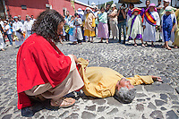 Jesus Encounters the Man Afflicted with a Demon, and Drives the Demon Out.  Palm Sunday Re-enactment of events in the life of Jesus, by the group called Luna LLena (Full Moon), a group of volunteers in Antigua, Guatemala.