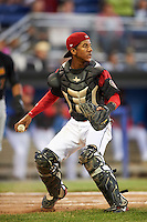 Batavia Muckdogs catcher Pablo Garcia (7) during a game against the West Virginia Black Bears on June 29, 2016 at Dwyer Stadium in Batavia, New York.  West Virginia defeated Batavia 9-4.  (Mike Janes/Four Seam Images)