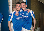 St Johnstone v Motherwell.....19.05.13      SPL.Tom Scobbie and Steven MacLean at full time.Picture by Graeme Hart..Copyright Perthshire Picture Agency.Tel: 01738 623350  Mobile: 07990 594431