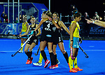 Black Sticks Women celebrate Olivia Merry's goal during the Sentinel Homes Trans Tasman Series hockey match between the New Zealand Black Sticks Women and the Australian Hockeyroos at Massey University Hockey Turf in Palmerston North, New Zealand on Tuesday, 1 June 2021. Photo: Dave Lintott / lintottphoto.co.nz