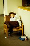 Sleep sleeping  junior doctor asleep at the end of her shift Royal United Hospital Bath hospital, Somerset. NHS 1980s  1988