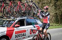 Philippe Gilbert (BEL/Lotto-Soudal) changing jackets<br /> <br /> 107th Liège-Bastogne-Liège 2021 (1.UWT)<br /> 1 day race from Liège to Liège (259km)<br /> <br /> ©kramon