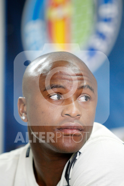 Getafe's new player Tshepo Masilela during his official presentation. August 19, 2011. (ALTERPHOTOS/Acero)